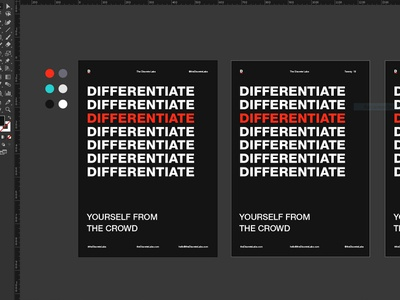 WIP - The Discrete Labs working type helvetica print design print poster design the discrete labs brand agency colorpalette illustrator wip design red and black black layout poster differentiate helvetica neue typography