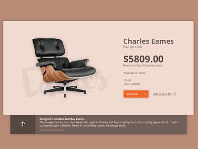 Charles Eames lounge chair card web designer chair lounge ui