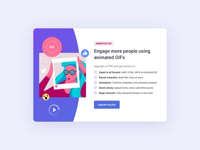 Upgrade Modal uxdesign uidesign ux website marketing vector illustration interface element design cta button bannersnack application ui card