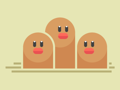 Dugtrio for Kanto Show show gallery print nintendo dugtrio diglett pokemon illustration