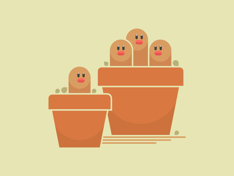 Potted Diglett/Dugtrio for Kanto Show show gallery print nintendo dugtrio diglett pokemon illustration
