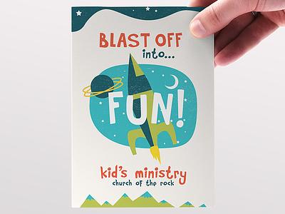 Blast Off! kids ministry design rocket space vbs bible camp children vector illustration sunday school