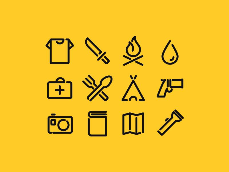 Survival icons pack bulgaria design sofia survival extreme survive icons pack icon icon design line simple clean minimal tools berlin
