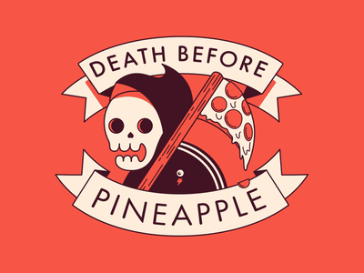 Death Before Pineapple 3 colors timmy death skeleton ananas pizza reaper skull pineapple stikers sticker