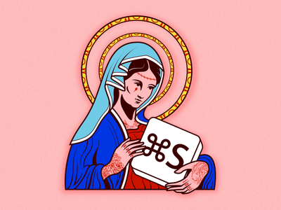 Holy Mother of Saved Files tattoo saint madonna maria mary virgin mother holy saved save sticker illustrator