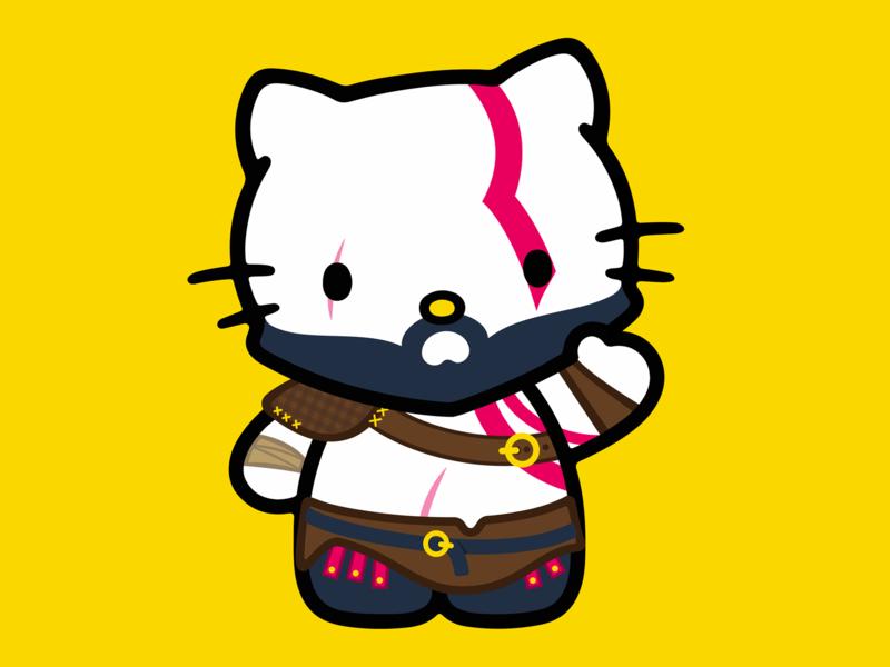 Hello Kratos videogames kitty cat videogame gamer game flat valhalla nordic japan playstation4 playstation ps4 god of war kratos hello kitty sticker