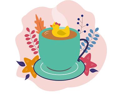 Take it easy Duck coffee cute illustration duck study drawing illustrator design vector illustration
