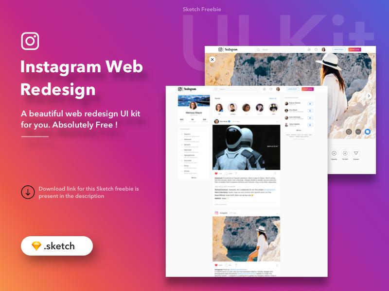 Instagram Web Redesign Freebie (sketch)