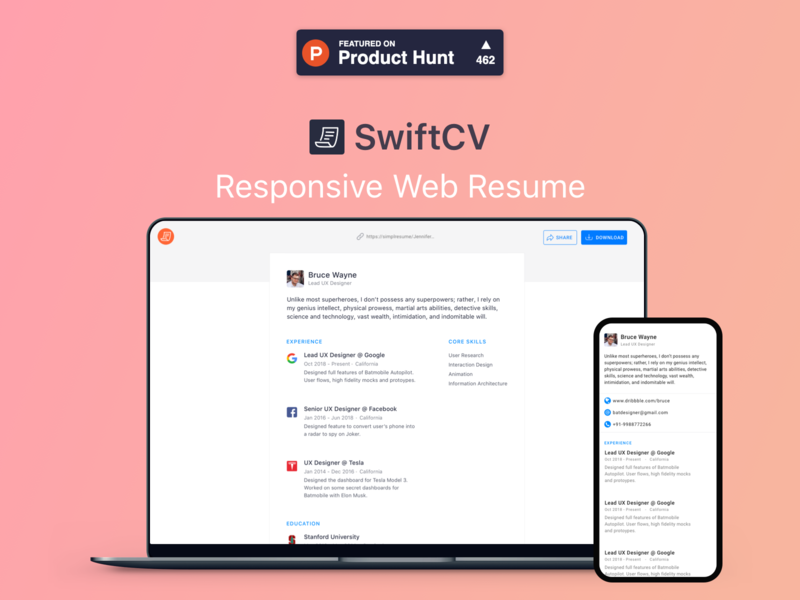 SwiftCV- Create beautiful & responsive web resumes in minutes clean design project producthunt website designer uxd ux ui design hiring job resume cv