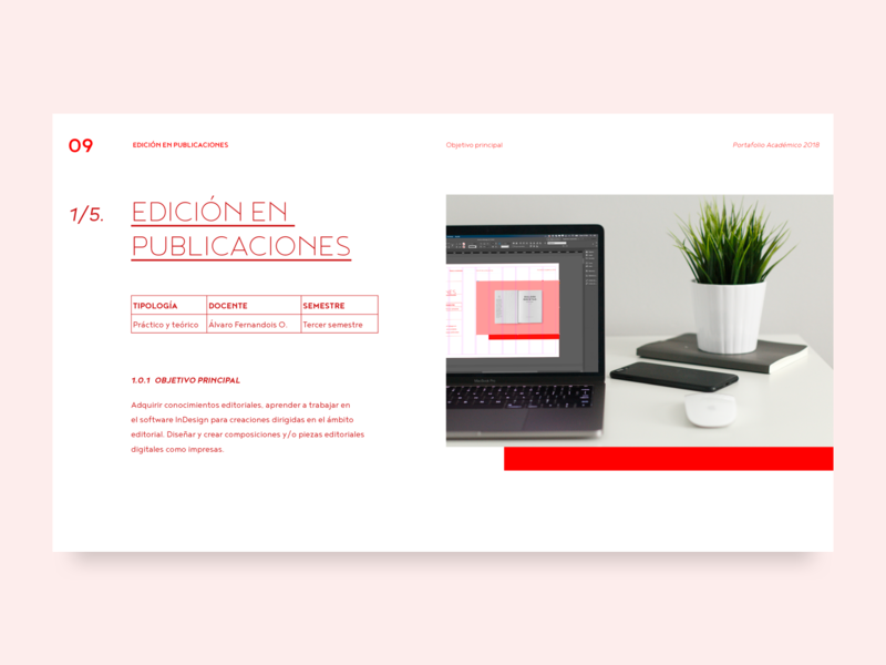 Main objective of the subject cards editorial table columns indesign leyout clean minimalism square geometric red chilean chile design