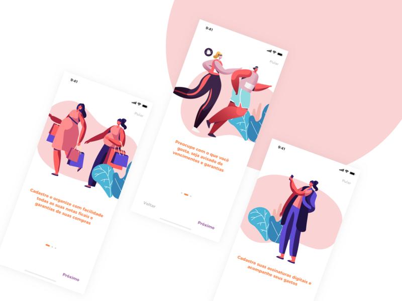 App Nexa - Onboarding shop onboarding uxdesign ux uidesign ui startup product design product paper organize money mobile ios invoice guarantee fintech design brazil app