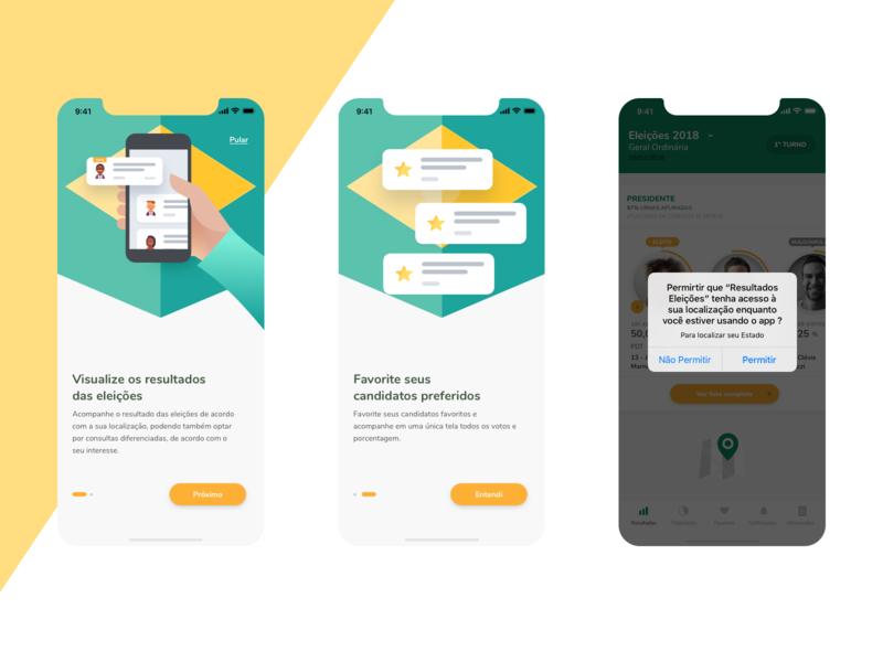 Resultados App - Onboarding presidential election vote votes mobile app design ux ui