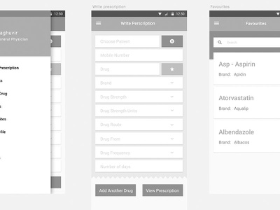Prescription App Wireframes ux ui pills medical doctor wireframes app prescription