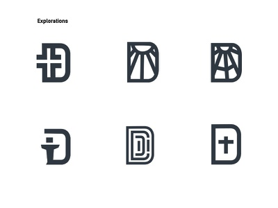 Explorations for Detroit Church design brand mark logo branding people d detroit sunshine religion cross church