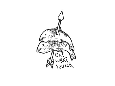 EatWhatYouKill hunting freelance illustration eat what you kill kill fishing hunter