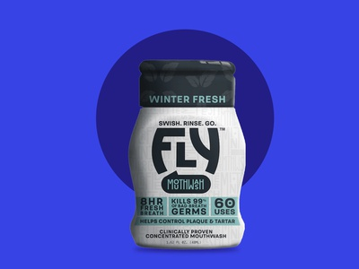 FRESH THAT FIGHTS BACK bad breath fly portable winter fresh design logo branding mouthwash package design