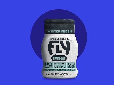 FRESH THAT FIGHTS BACK bad breath fly portable winter fresh design logo branding mouthwash package design
