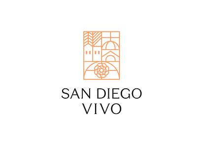 San Diego Vivo vintage flower church house symbol death cemetery identity ecuador logotype quito logo
