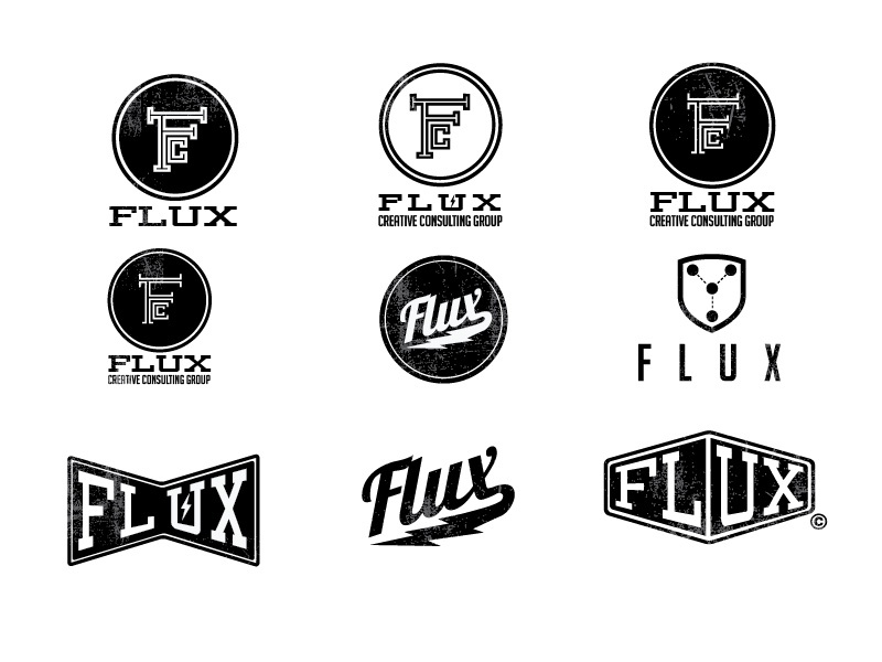 Flux Logo Treatments logo branding design bolt mark flux