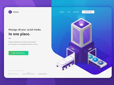 Soctory - Social Media Marketing Tool landing page roi social tool management marketing website illustration landing isometric