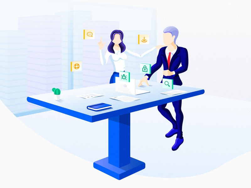 GRC Office and Support illustration saas office ui affinity vector character businessman optimized grc compliance governance risk security app business