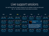 Live Support Timetable