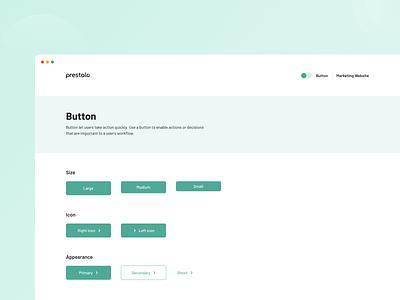 Buttons for Prestalo design system ui library component library design language website design ux branding ui