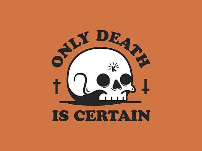 Death Is Certain stickers design vector illustration skull