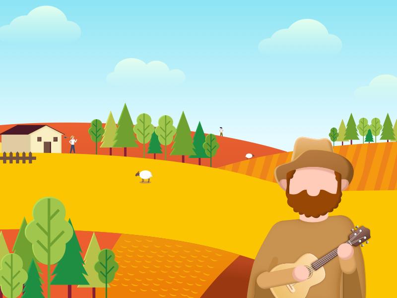 the history of the ukulele cloud sky music sheep farmland illustrations ukulele tree husbandman farmer