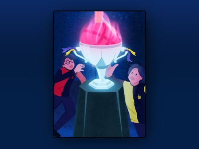 Dribbble Debut: Goblet of Fire night procreate drawing maze trophy jk rowling harry potter cedric diggory minimal flat vector illustration ui debut