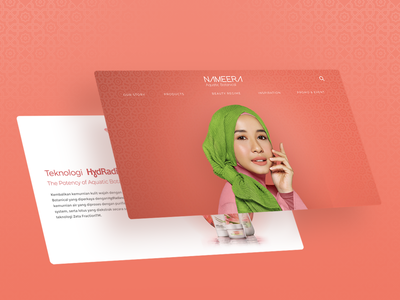 Nameera Website arabic peach botanical aquatic woman ui design uiux website muslim makeup fresh skincare beauty