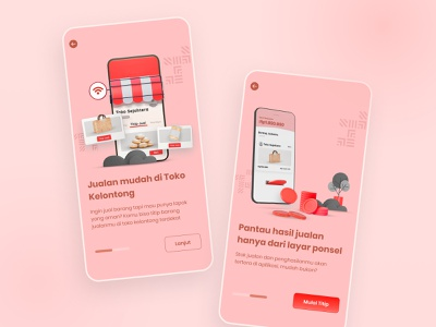 Online Selling Onboarding App store food coins money 3d art indonesia mobile app mobile ui ui design ecommerce kelontong warung traditional online shop online shopping online store