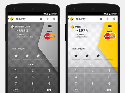 Tap & Pay Cards interface banking money card credit card design mobile android ux ui app application