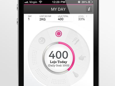 Tony Ferguson iPhone app interface design navigation iphone app application white wheel menu
