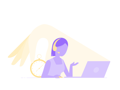 Customer support service support customer call phone girl laptop supporter simple graphic design flat cute creative concept color clean character vector design illustration