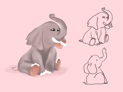 Charcater Design animal texture procreate brushes illustrator pink drawing sketch color cute artwork procreate elephant charcater design art graphic design concept character design illustration