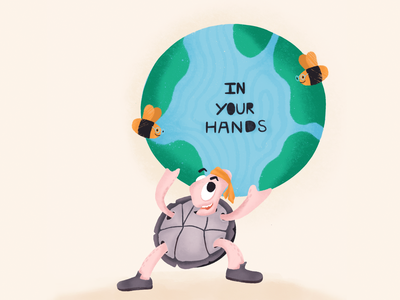 In Our Hands digital cute animal cartoon pastel colors creative bee turtle earth digitalart colorful dribbble illustrator art graphic concept graphic design character design illustration