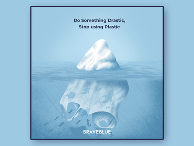 Stop Using Plastic global warming iceberg fish underwater sea climatechange environment stop save earth plastic bag creative dribbble illustrator graphic art concept graphic design character design illustration