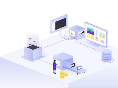 Testing data money machines desktop servers a b testing testing customer isometric website web analysis dailyui ui vector illustrator concept graphic design design illustration