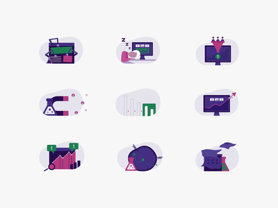 Infographic Illustrations watch web test calendar funnel sleep purple pink clean inspiration icon infographic vector dribbble illustrator graphic art character design illustration