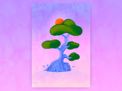 Happy Place color dribbble poster procreate fantasy dream painting texture artwork illustrator nature pleasing tree art graphic concept character graphic design design illustration