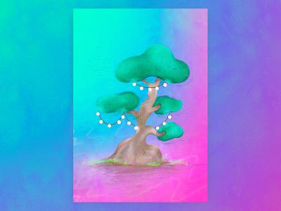 Tree gradient wallart poster dribbble fairy tree house lights tree artwork pleasing dream graphic art concept character graphic design design illustration