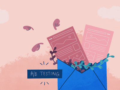 A B Testing Email Marketing art graphic flat dribbble web minimal graphic design concept color vector adobe illustrator design analyze email marketing blog illustration split test optimization ab testing illustration