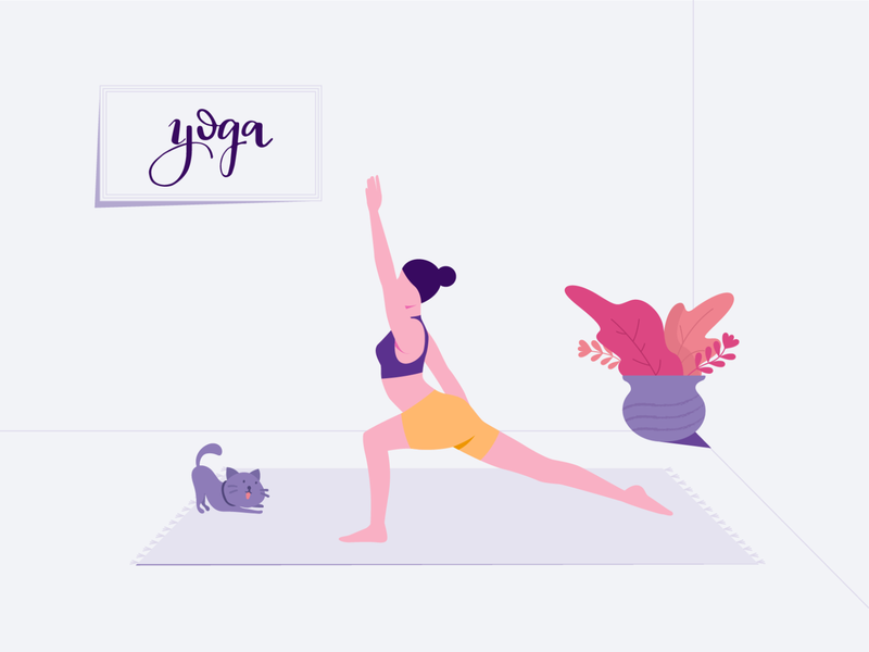 Yoga Illustration healthy lifestyle pet fitness flexible flat illustration cat lady women working out excercise workout yoga animal cat design character illustration