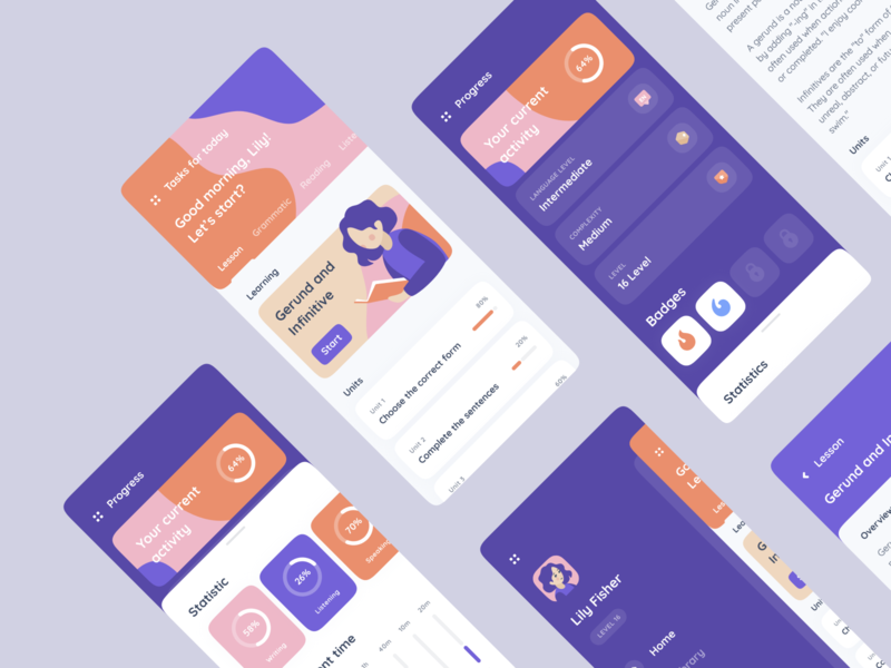 Education Learning App uiux english phone fluid badges menu graphic progress statistics concept illustrations school languages learning app learning ios mobile education mentalstack app