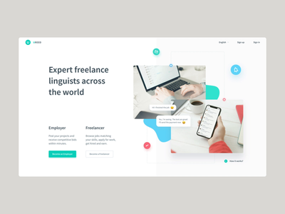 Landing for a global writing freelancing platform interaction work job scroll freelancer testimonials photos phone mockup ui layout home landing page blobs slider motion animation landing mentalstack