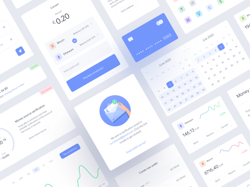 UI for Cryptocurrency exchange platform illustration blue light theme finance crypto exchange bitcoin blockchain crypto wallet coin token dashboard cryptocurrency ui kit ui elements user interface interface website design ui mentalstack