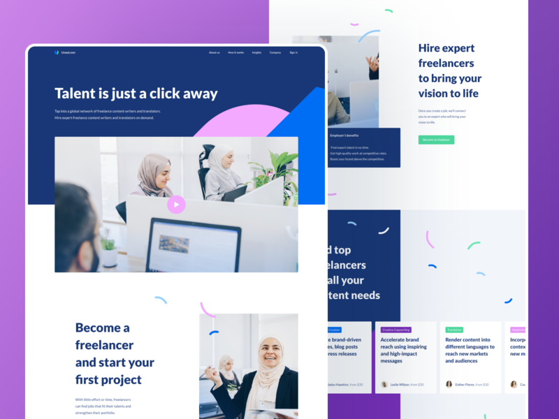 Landing page for global writing freelancing platform list view layout slider web design ui design styleguide branding colors colorful platform hero section main screen home websitedesign homepage photos employee writing freelencer landing page mentalstack