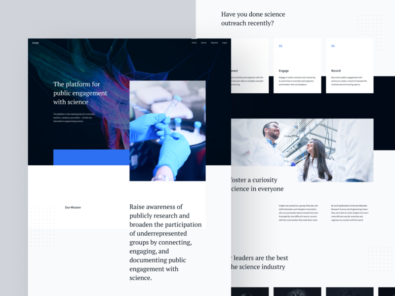 Landing page for Scientists Platform branding texture typogaphy card design slider scroll network layout grid photoshop scientist science herosection home website landingpage