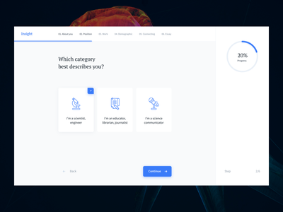 Wizard for Interactive platform for thescientific community numbers layout blue checkbox product design description position scientists networs wizard icons platform category progress answer question questionnaire choose science steps
